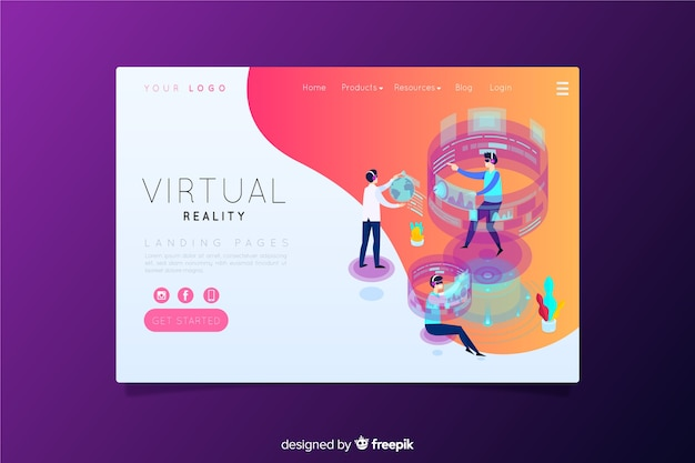 Virtual reality landing page Free Vector