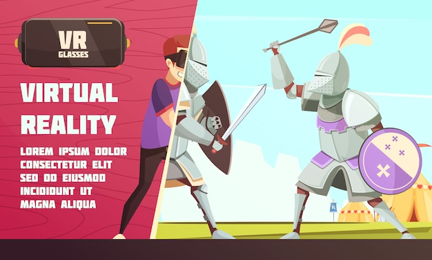 Virtual reality medieval contest ad Free Vector