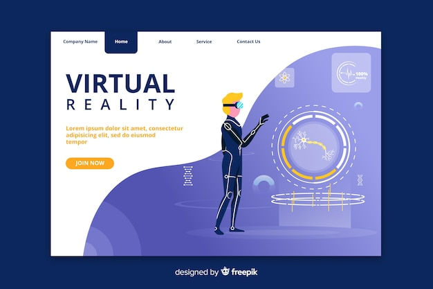 Virtual reality modern landing page Free Vector