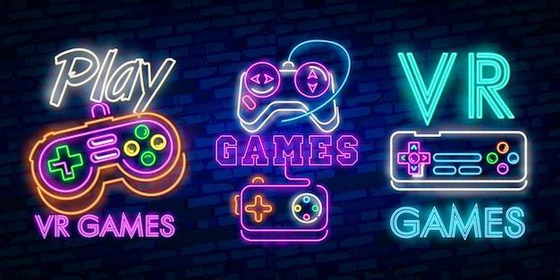 Virtual reality neon sign, bright signboard, light banner. Premium Vector