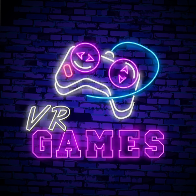 Virtual reality neon sign Premium Vector