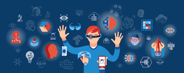 Virtual reality science technology icons illustration Premium Vector