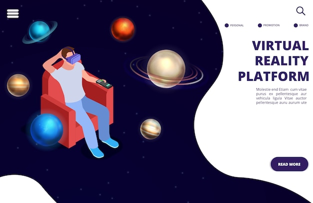 Virtual reality space travel isometric  concept. space augmented reality illustration Premium Vector