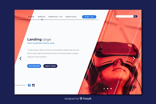 Virtual reality technology landing page Free Vector