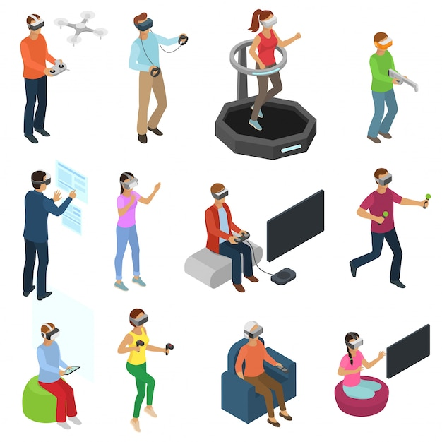 Virtual reality vector people in vr character gamer with vr glasses and person playing vr Premium Vector