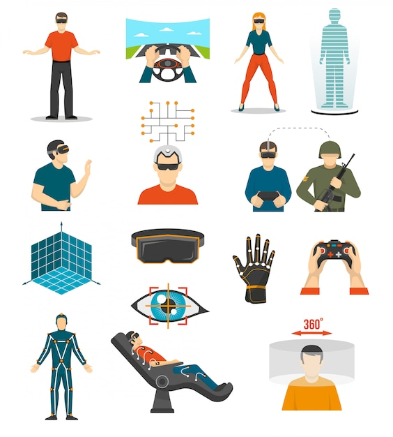 Virtual reality video games set Free Vector
