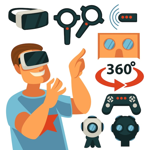 Virtual reality or vr gaming devices Premium Vector
