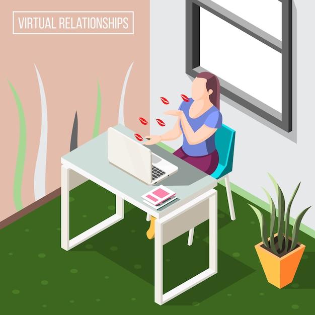 Fondo isometrico di relazioni virtuali con la donna che invia baci d'aria dalla videocamera sull'illustrazione del computer portatile Vettore gratuito