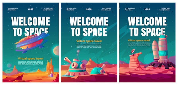 Virtual space travel flyers set. Free Vector
