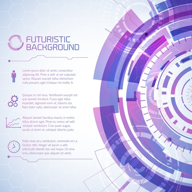Virtual technology background with composition of futuristic round user touchscreen elements and text paragraphs with icons Free Vector
