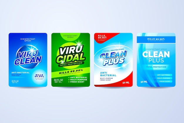 Virucidal and bactericidal cleaner labels Free Vector