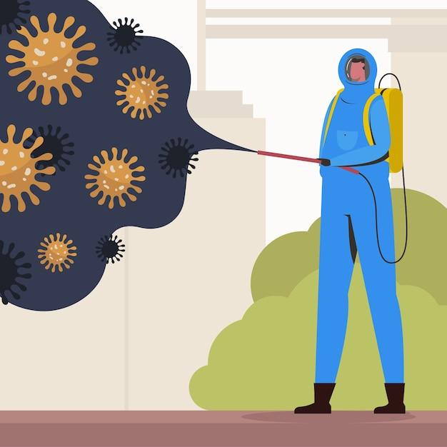 Concetto di disinfezione da virus Vettore gratuito