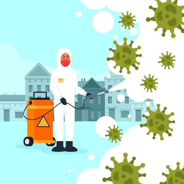 Progettazione dell'illustrazione di disinfezione del virus Vettore gratuito
