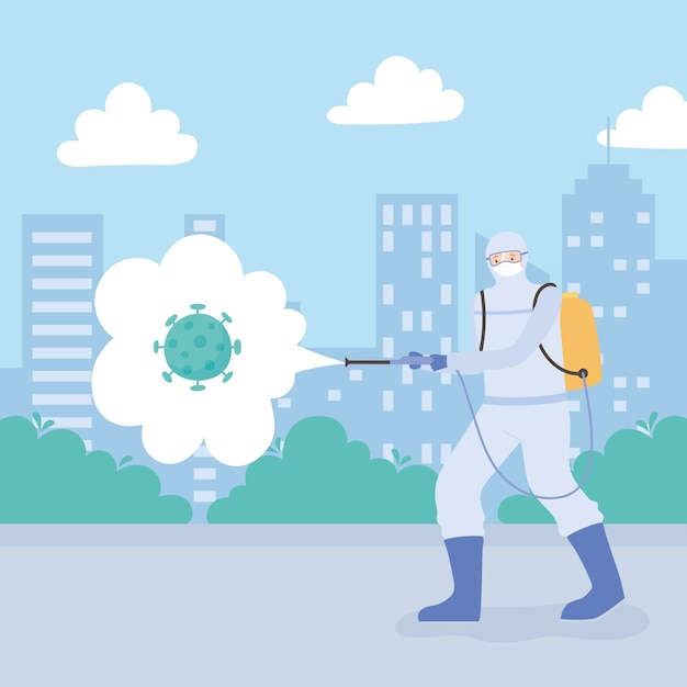 Virus disinfection, man with medical suit and mask spraying disinfectantcoronavirus in the city, preventive measure Premium Vector