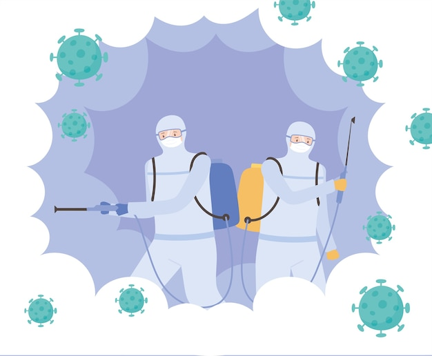 Virus disinfection, specialists in viral hazard protective suits, covid 19 coronavirus, preventive measure Premium Vector