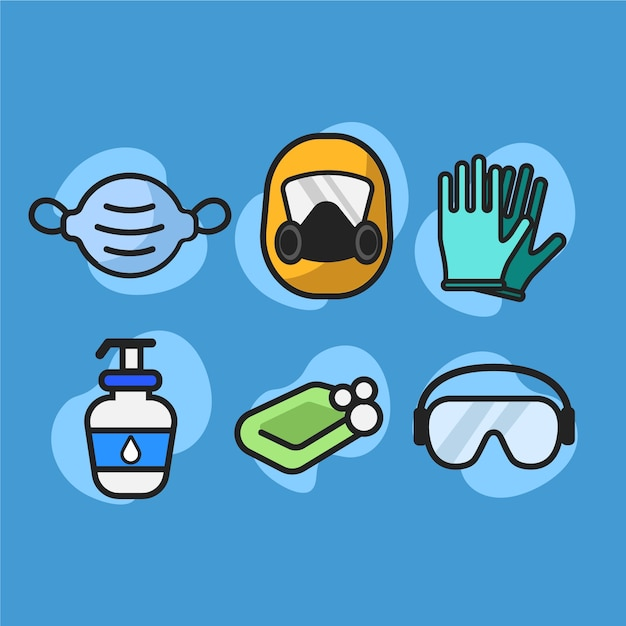 Virus equipment protection collection Free Vector