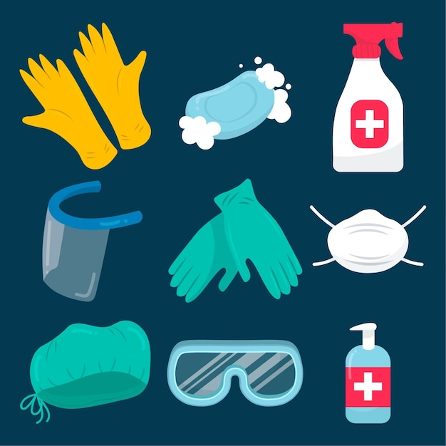 Virus equipment protection element collection Free Vector