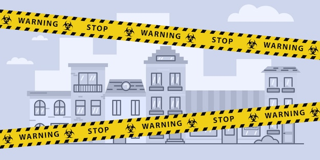 Virus lockdown barrier tape over city. pandemic. biohazard warning sign. stock   illustration in flat design. Premium Vector
