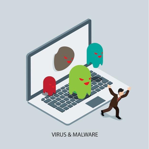 Virus and malware protection Premium Vector