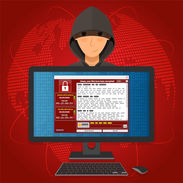 Virus malware ransomware wannacry encrypted your files and requires money Premium Vector