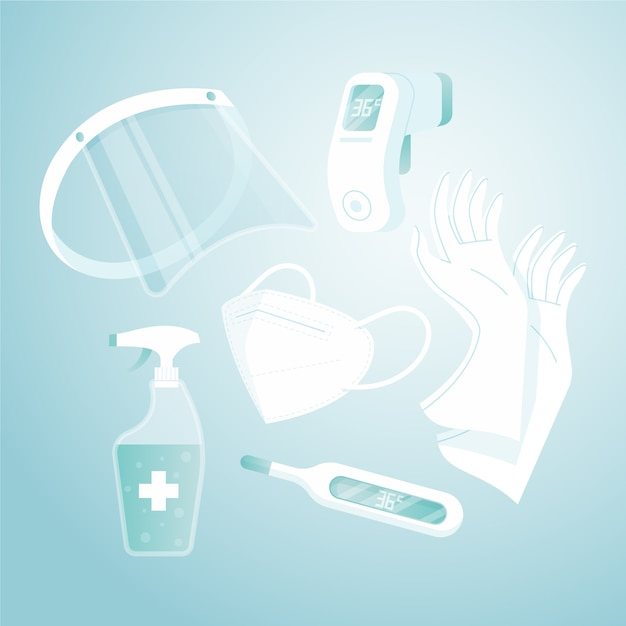Virus protection equipment collection Free Vector