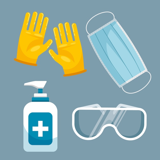 Virus protection equipment pack Free Vector