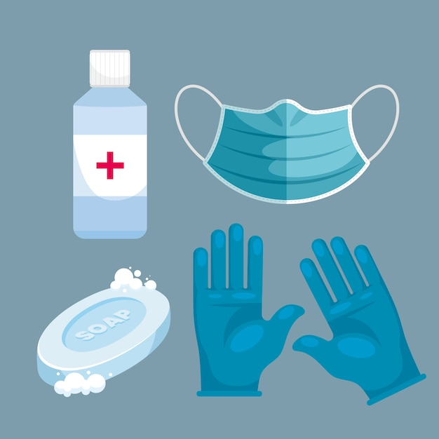 Virus protection equipment set Free Vector