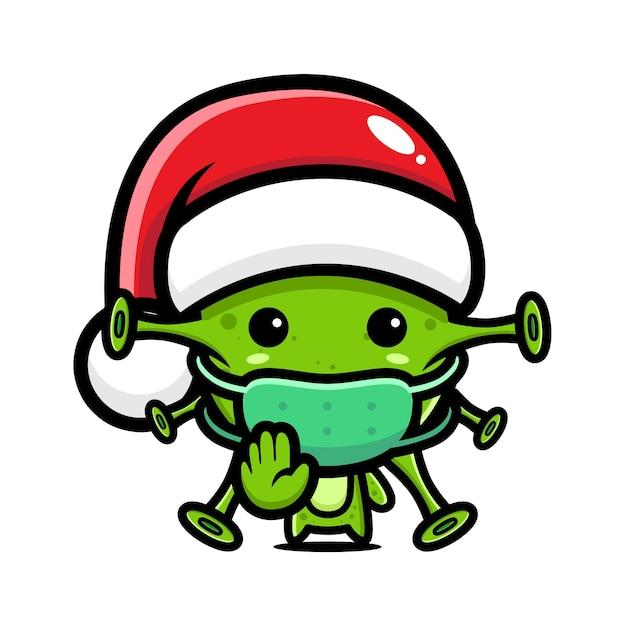 바이러스 중지 바이러스 포즈와 산타 모자를 쓰고 바이러스 프리미엄 벡터