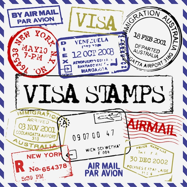 Visa stamps collection Free Vector