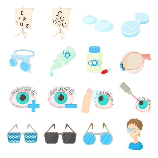 Vision correction icons set in cartoon style Premium Vector