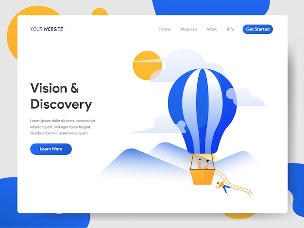 Vision and discovery with hot air balloon Premium Vector