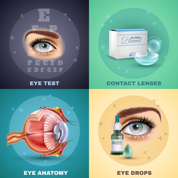 Vision realistic composition set Free Vector