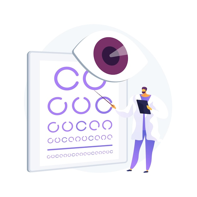 Vision screening abstract concept vector illustration. vision test service, glasses prescription, eye disorder diagnostic, acuity testing, primary care in school, pediatric exam abstract metaphor. Free Vector
