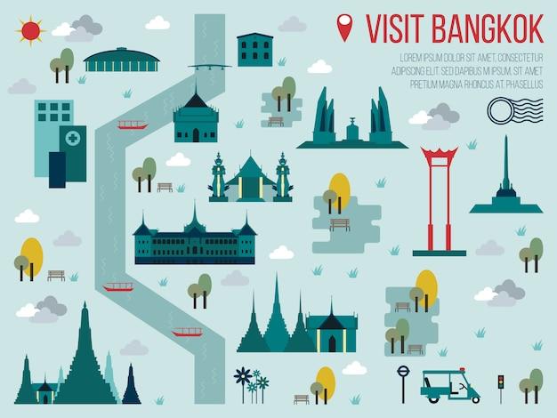 訪問バンコクの地図イラスト Premiumベクター