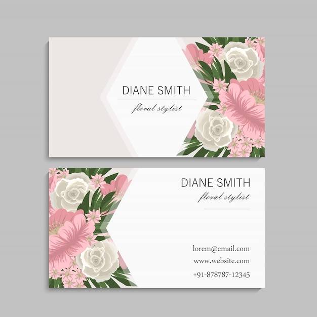 Visit card with flowers Premium Vector