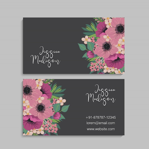 Visit card with flowers Free Vector