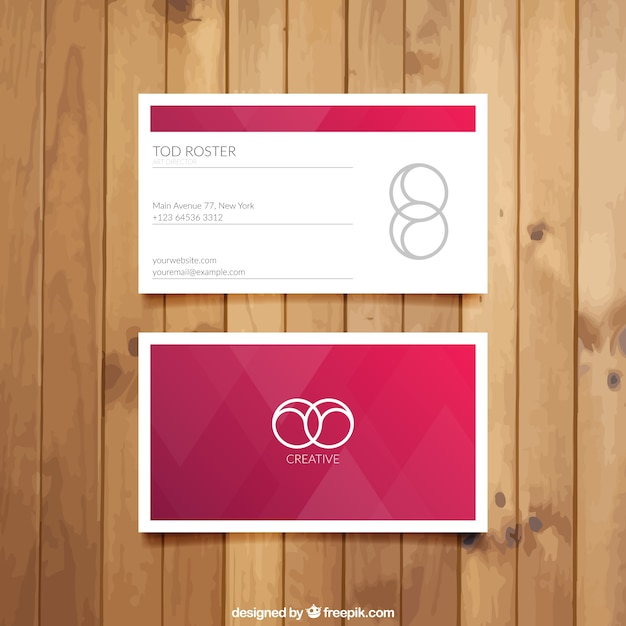 Visit card with red triangles Premium Vector