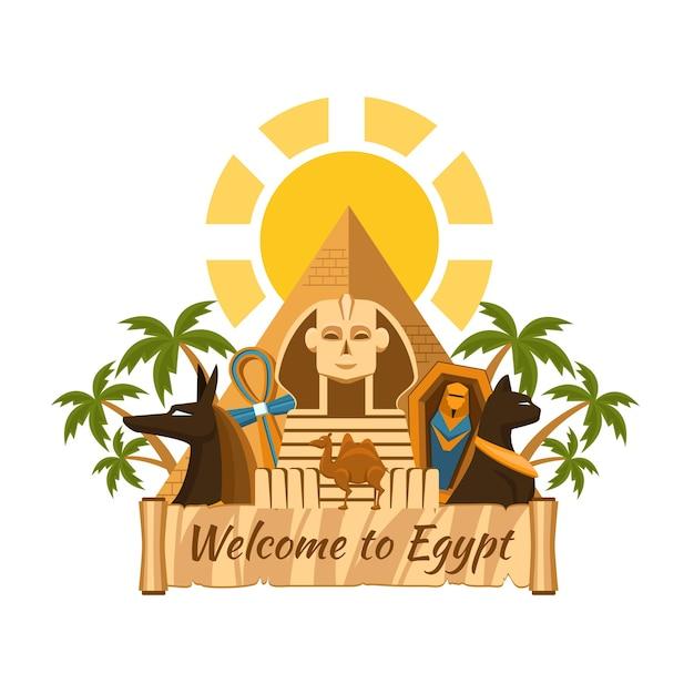 이집트를 방문하십시오. 관광 이집트 명소. 스핑크스와 피라미드, 야자수와 미라 무료 벡터