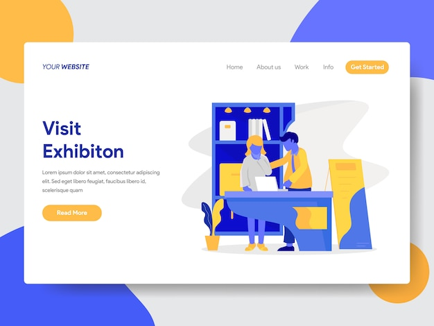 Visit exhibition illustration for web page Premium Vector