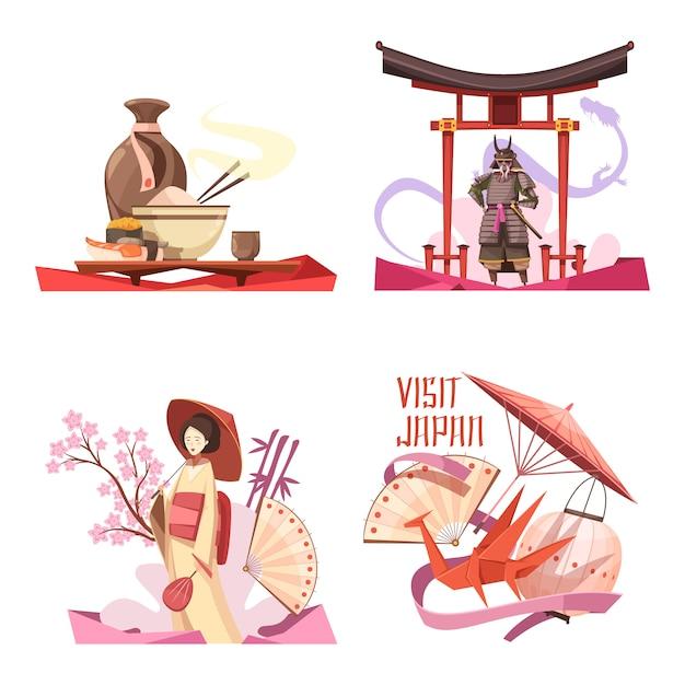Visit japan retro cartoon compositions Free Vector