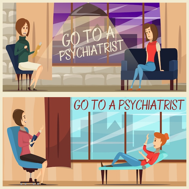 Visit to psychiatrist flat banners Free Vector