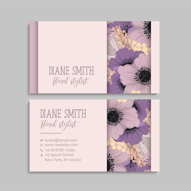 Visiting card and business card set with flowers Premium Vector