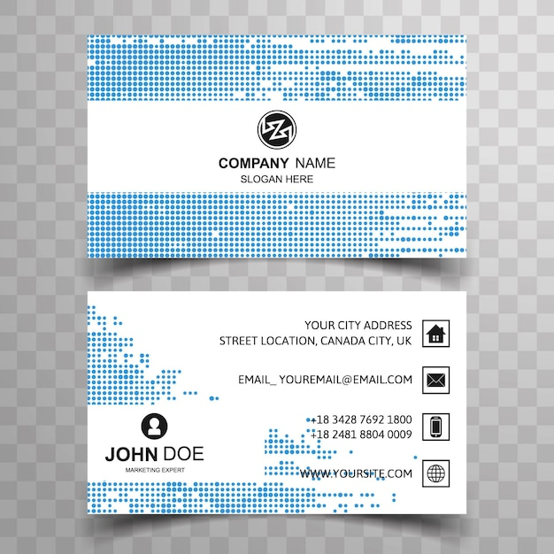 Visiting card design with small blue dots