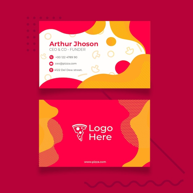 Visiting card template for pizza restaurant Free Vector