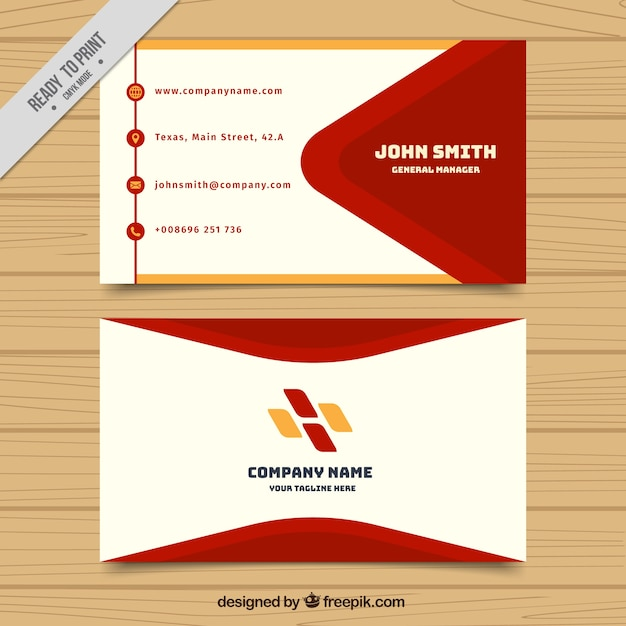 Visiting Card Template With Red And Orange Shapes Freepik
