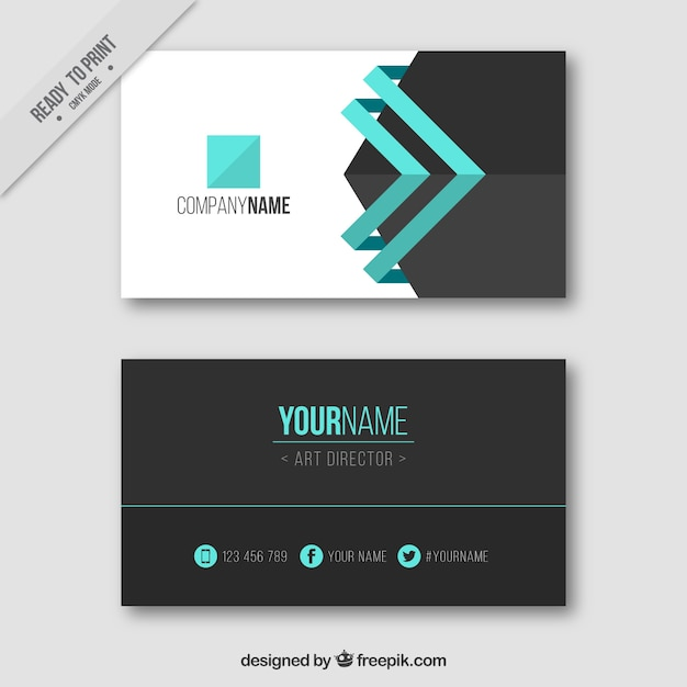 Visiting card with blue details Free Vector