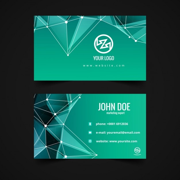 Visiting Card With Polygons Vector | Free Download