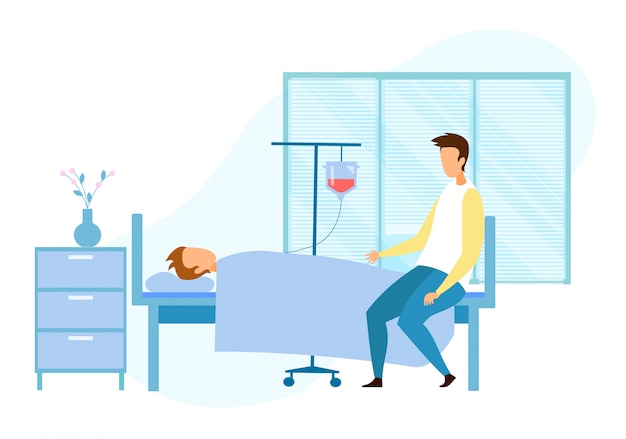 Visitor near seriously ill unconscious patient Premium Vector