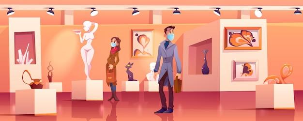 방문객들은 현대 미술품으로 박물관에서 의료 마스크를 착용합니다. 무료 벡터