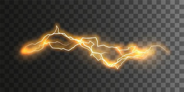 視覚的な電気効果。市松模様の透明な背景に分離された輝く強力なエネルギー放電。 Premiumベクター